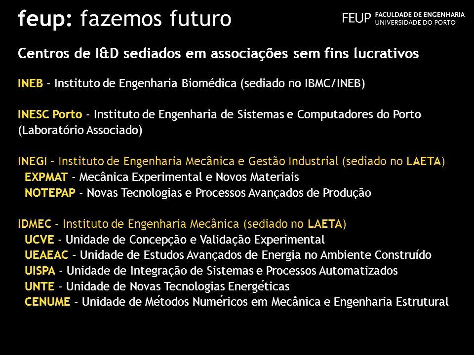 feup: fazemos futuro Centros de I&D sediados em associações sem fins lucrativos. INEB - Instituto de Engenharia Biomédica (sediado no IBMC/INEB)