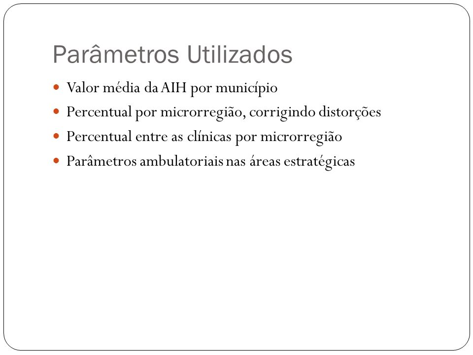 Parâmetros Utilizados