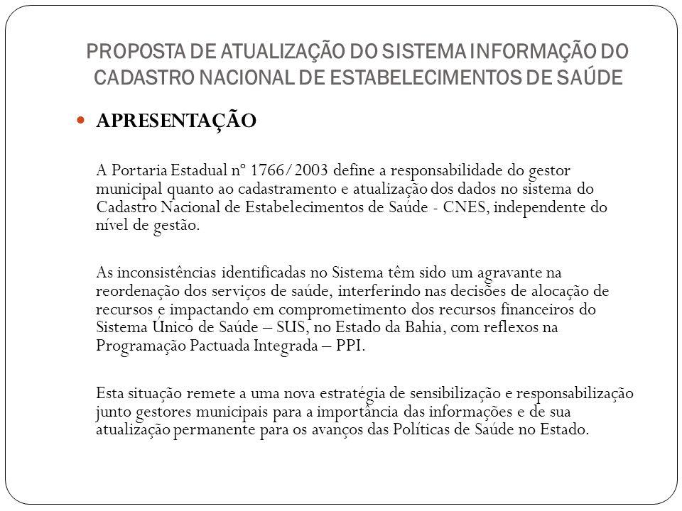 PROPOSTA DE ATUALIZAÇÃO DO SISTEMA INFORMAÇÃO DO CADASTRO NACIONAL DE ESTABELECIMENTOS DE SAÚDE