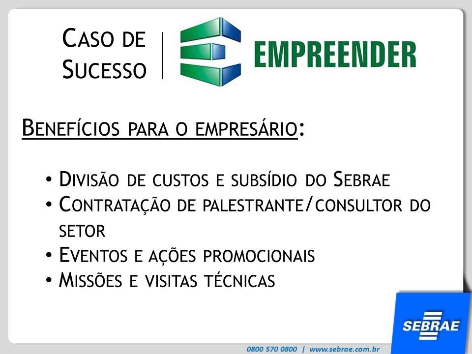 Caso de Sucesso Benefícios para o empresário: