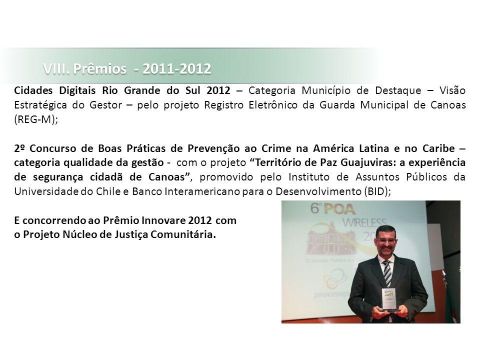 VIII. Prêmios - 2011-2012