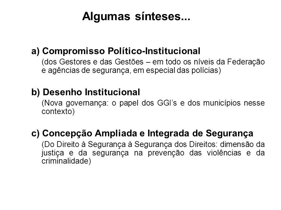 Algumas sínteses... a) Compromisso Político-Institucional