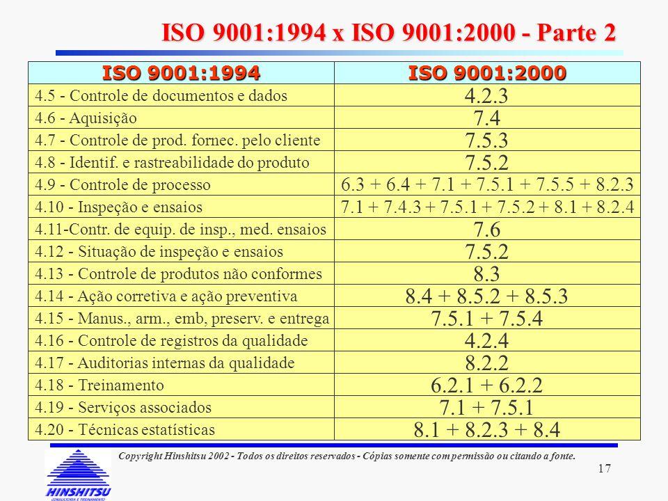 ISO 9001:1994 x ISO 9001:2000 - Parte 2 ISO 9001:1994. ISO 9001:2000. 4.6 - Aquisição. 4.7 - Controle de prod. fornec. pelo cliente.