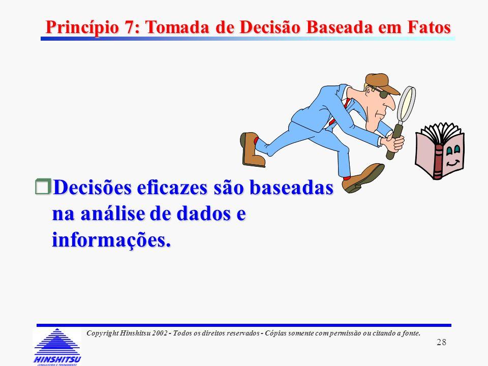 Decisões eficazes são baseadas na análise de dados e informações.