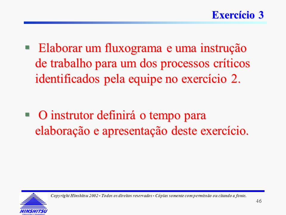 Exercício 3 Elaborar um fluxograma e uma instrução de trabalho para um dos processos críticos identificados pela equipe no exercício 2.