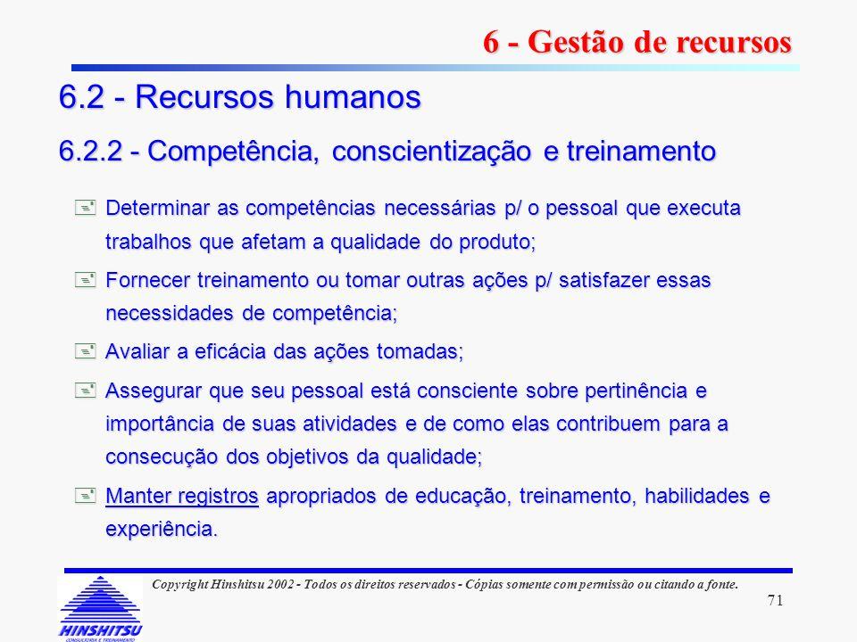 6 - Gestão de recursos 6.2 - Recursos humanos