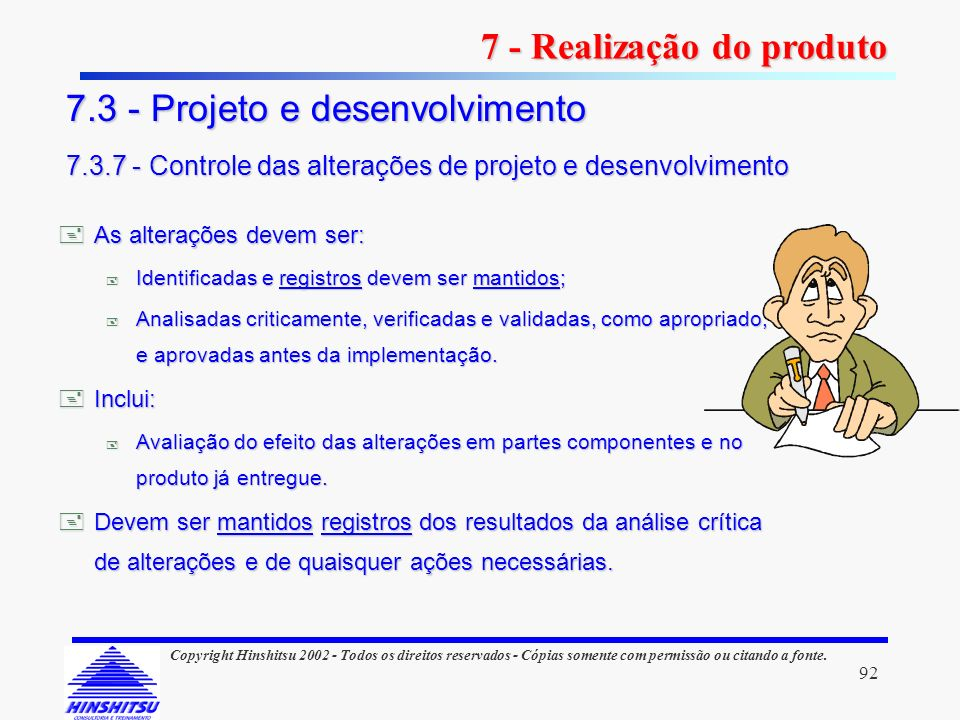 7 - Realização do produto