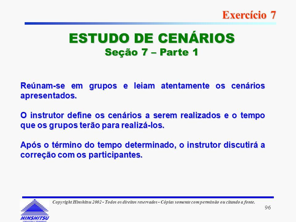 ESTUDO DE CENÁRIOS Exercício 7 Seção 7 – Parte 1