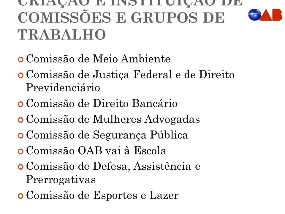 CRIAÇÃO E INSTITUIÇÃO DE COMISSÕES E GRUPOS DE TRABALHO
