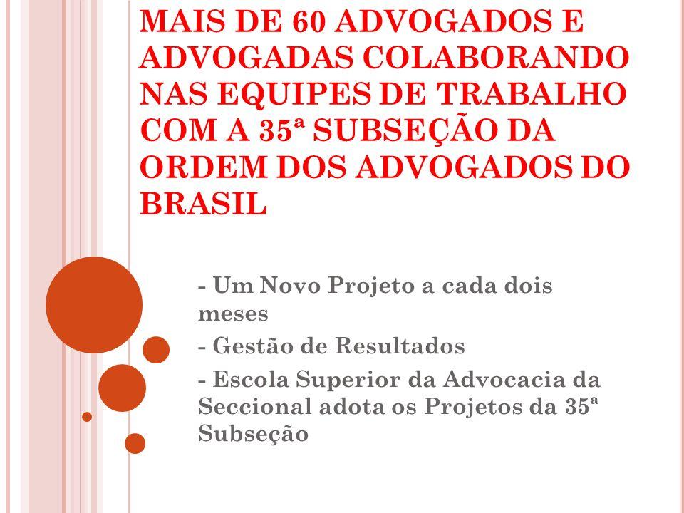 MAIS DE 60 ADVOGADOS E ADVOGADAS COLABORANDO NAS EQUIPES DE TRABALHO COM A 35ª SUBSEÇÃO DA ORDEM DOS ADVOGADOS DO BRASIL
