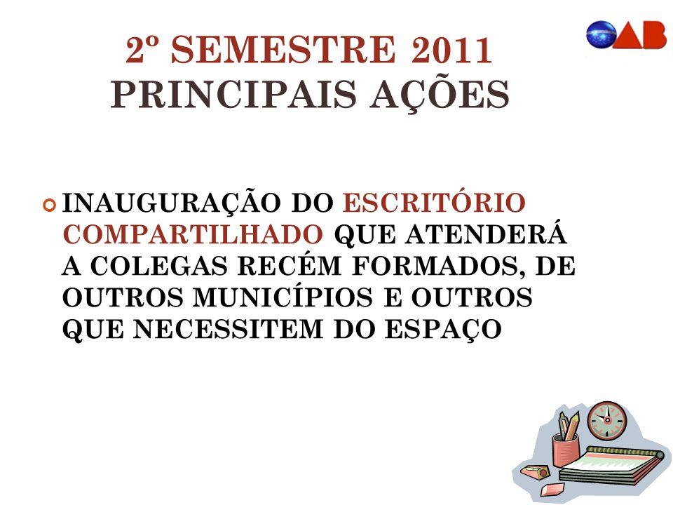 2º SEMESTRE 2011 PRINCIPAIS AÇÕES