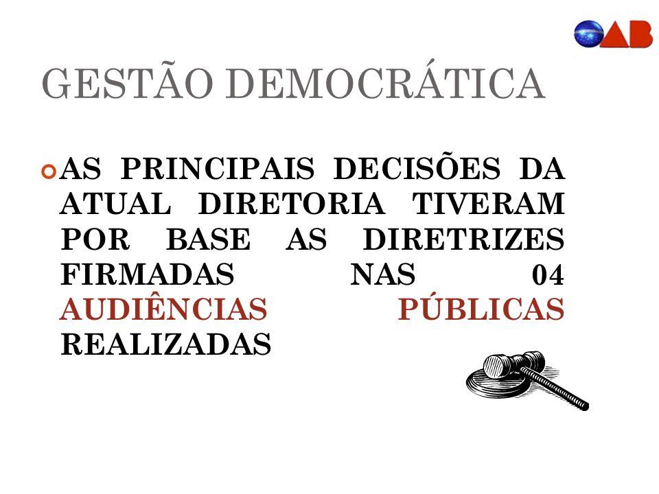 GESTÃO DEMOCRÁTICA AS PRINCIPAIS DECISÕES DA ATUAL DIRETORIA TIVERAM POR BASE AS DIRETRIZES FIRMADAS NAS 04 AUDIÊNCIAS PÚBLICAS REALIZADAS.
