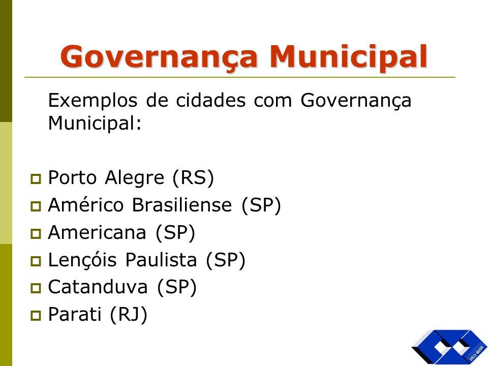 Governança Municipal Exemplos de cidades com Governança Municipal: