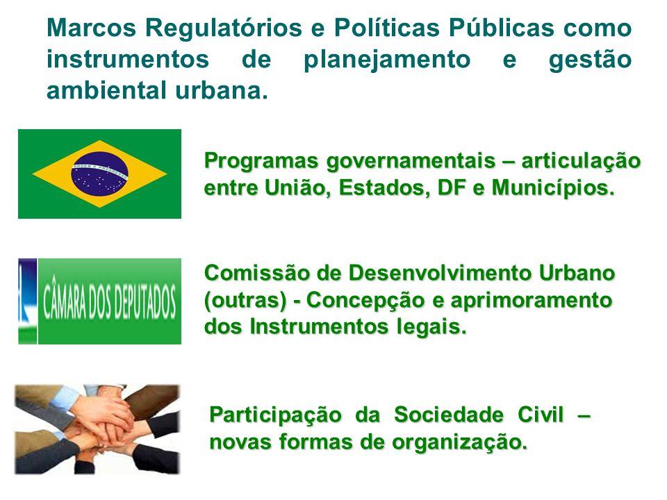 Marcos Regulatórios e Políticas Públicas como instrumentos de planejamento e gestão ambiental urbana.