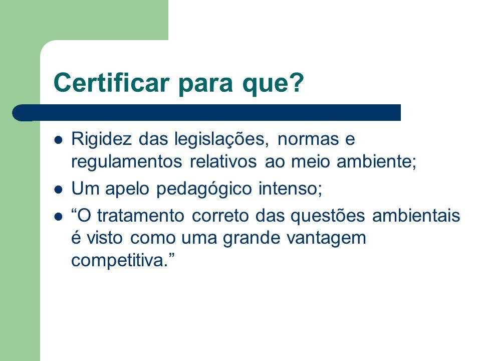Certificar para que Rigidez das legislações, normas e regulamentos relativos ao meio ambiente; Um apelo pedagógico intenso;