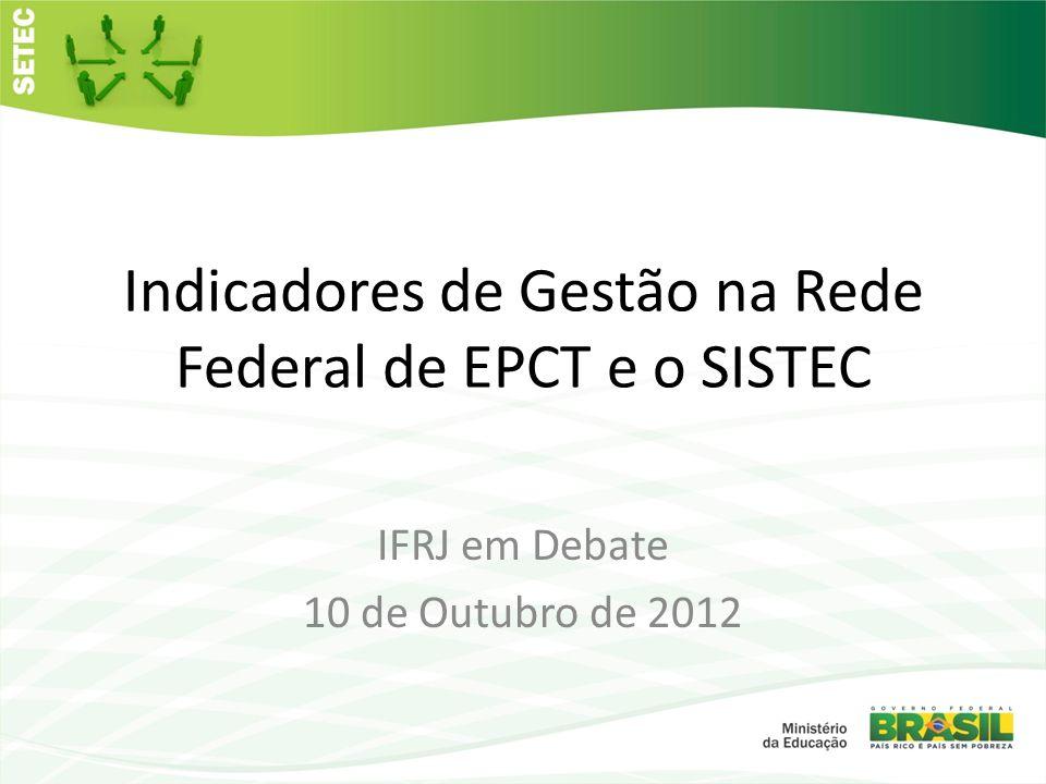 Indicadores de Gestão na Rede Federal de EPCT e o SISTEC