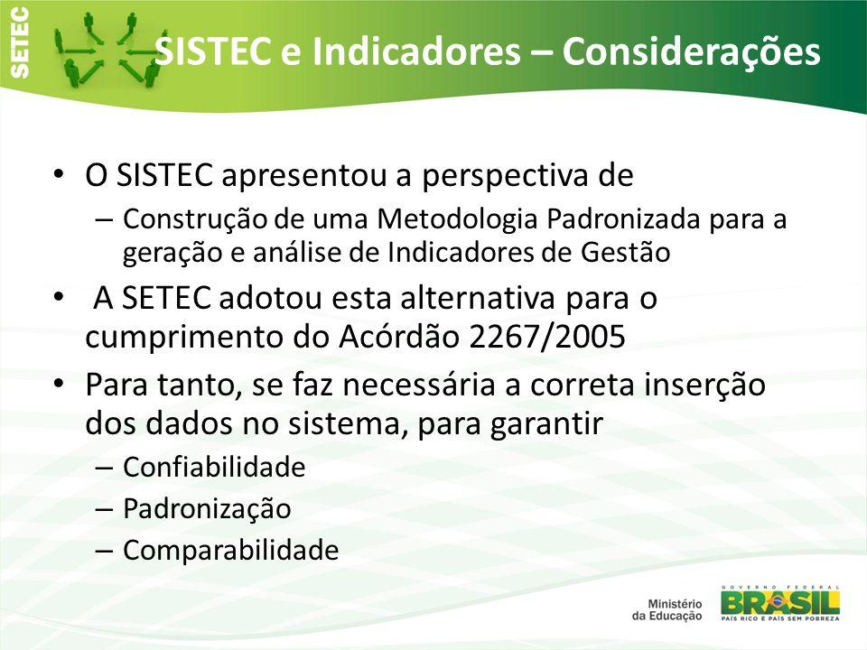 SISTEC e Indicadores – Considerações