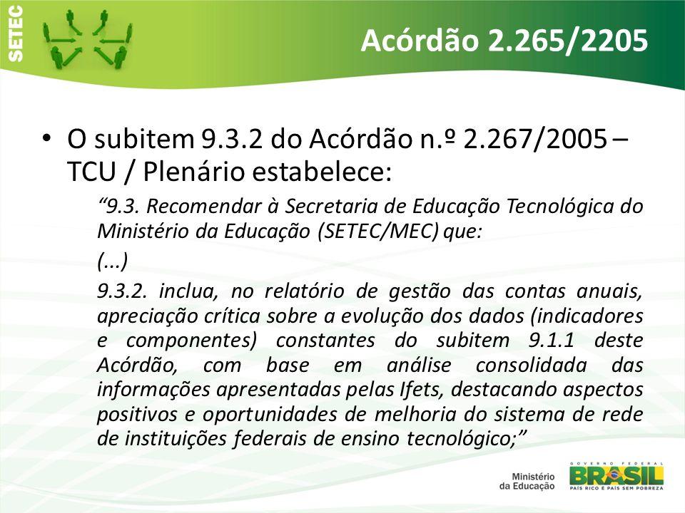Acórdão 2.265/2205 O subitem 9.3.2 do Acórdão n.º 2.267/2005 – TCU / Plenário estabelece: