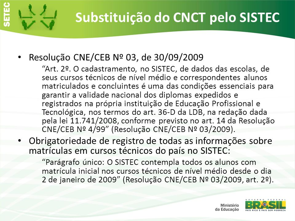 Substituição do CNCT pelo SISTEC