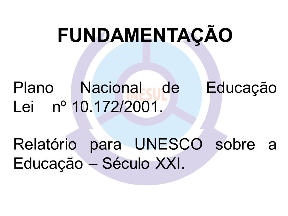 FUNDAMENTAÇÃO Plano Nacional de Educação Lei nº 10.172/2001.