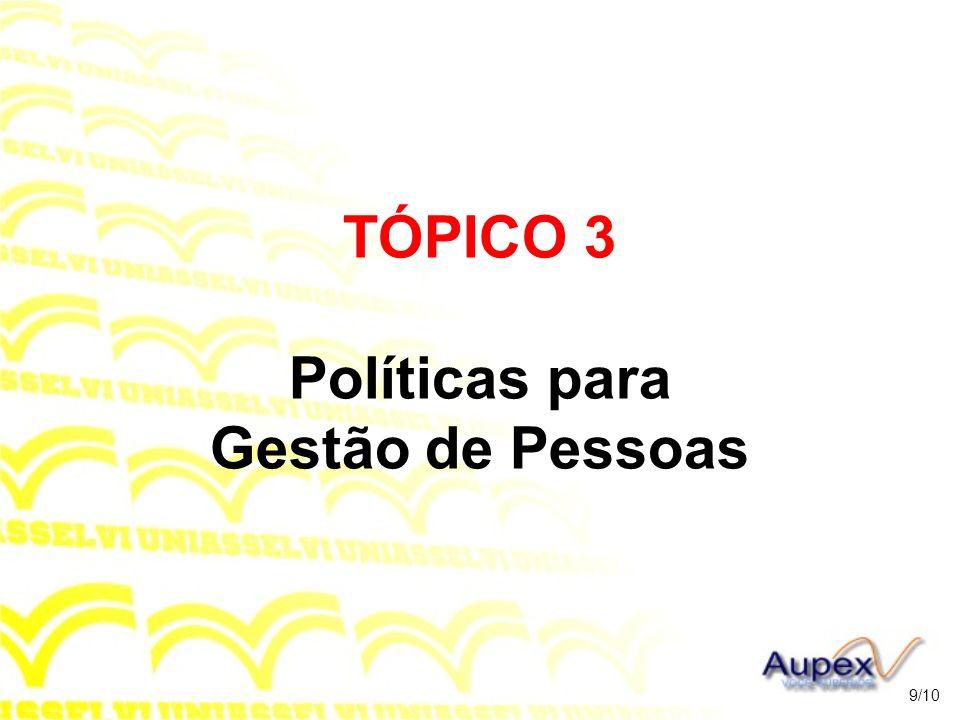 TÓPICO 3 Políticas para Gestão de Pessoas