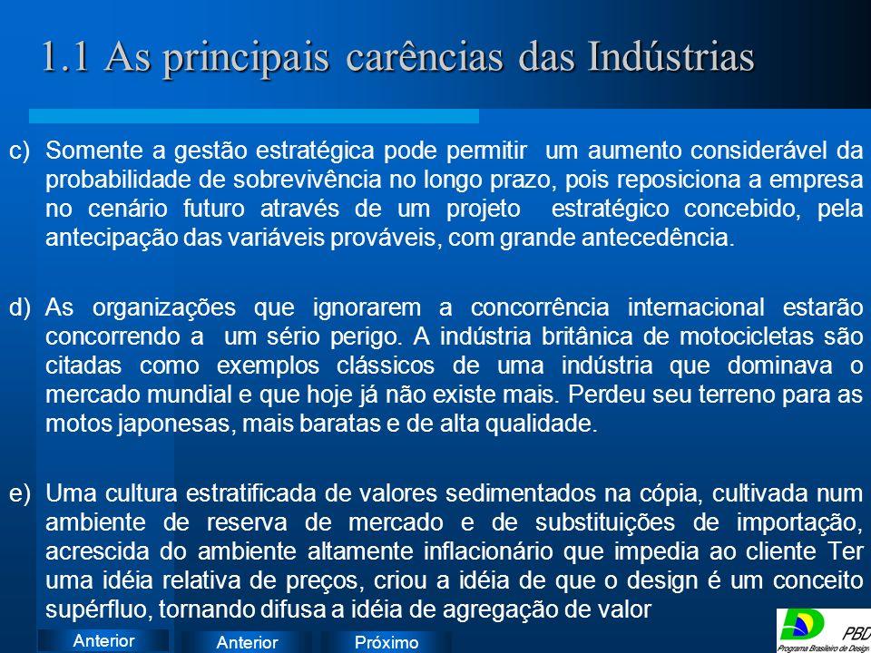 1.1 As principais carências das Indústrias
