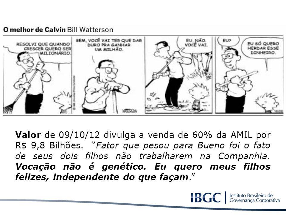 Valor de 09/10/12 divulga a venda de 60% da AMIL por R$ 9,8 Bilhões