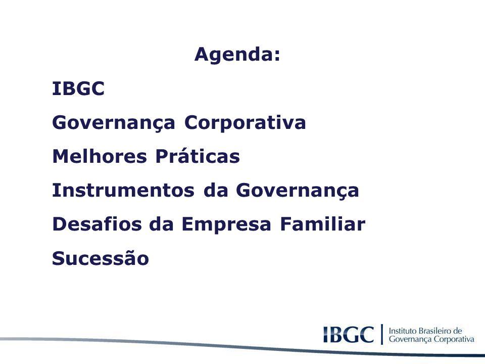 Agenda: IBGC. Governança Corporativa. Melhores Práticas. Instrumentos da Governança. Desafios da Empresa Familiar.