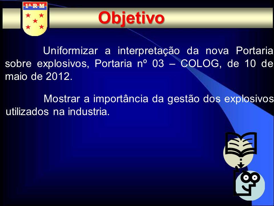 ObjetivoUniformizar a interpretação da nova Portaria sobre explosivos, Portaria nº 03 – COLOG, de 10 de maio de 2012.
