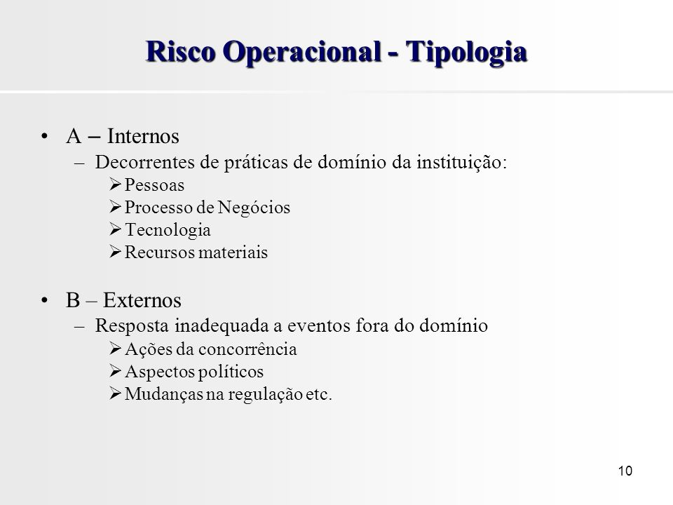 Risco Operacional - Tipologia