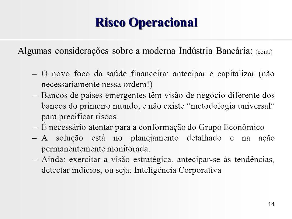 Risco Operacional Algumas considerações sobre a moderna Indústria Bancária: (cont.)