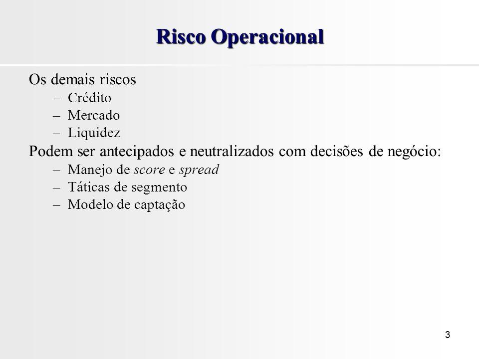 Risco Operacional Os demais riscos