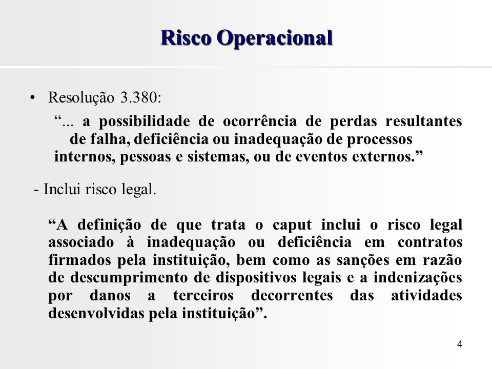 Risco Operacional Resolução 3.380: