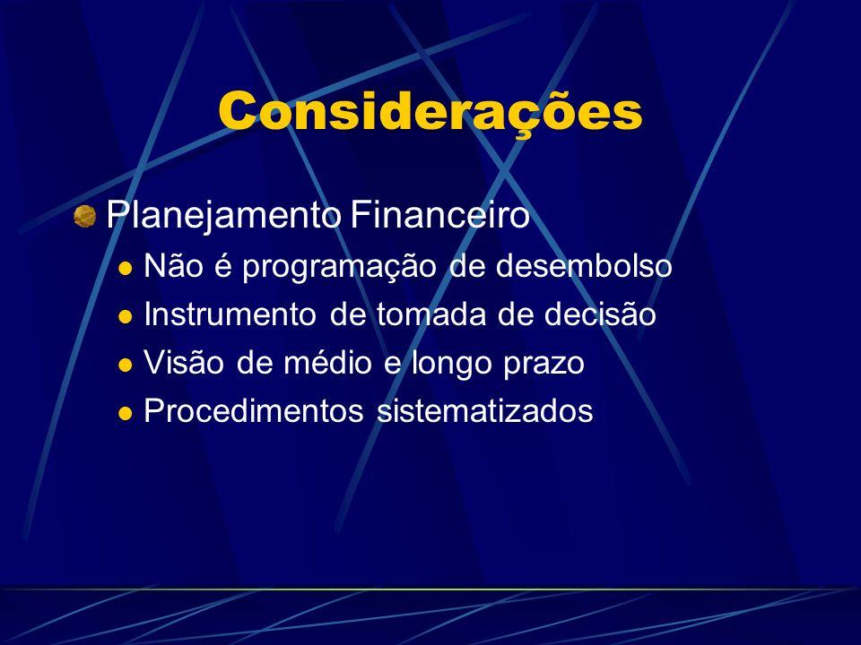 Considerações Planejamento Financeiro Não é programação de desembolso