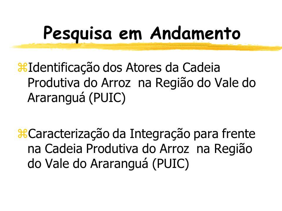 Pesquisa em Andamento Identificação dos Atores da Cadeia Produtiva do Arroz na Região do Vale do Araranguá (PUIC)