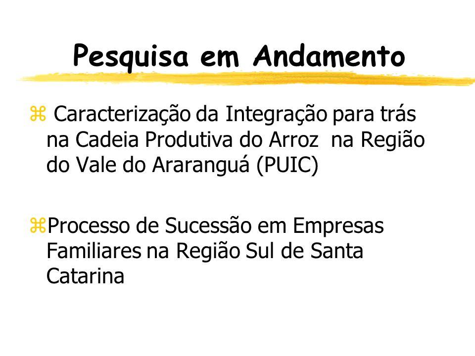 Pesquisa em Andamento Caracterização da Integração para trás na Cadeia Produtiva do Arroz na Região do Vale do Araranguá (PUIC)