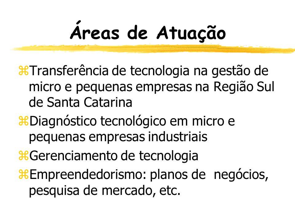 Áreas de Atuação Transferência de tecnologia na gestão de micro e pequenas empresas na Região Sul de Santa Catarina.