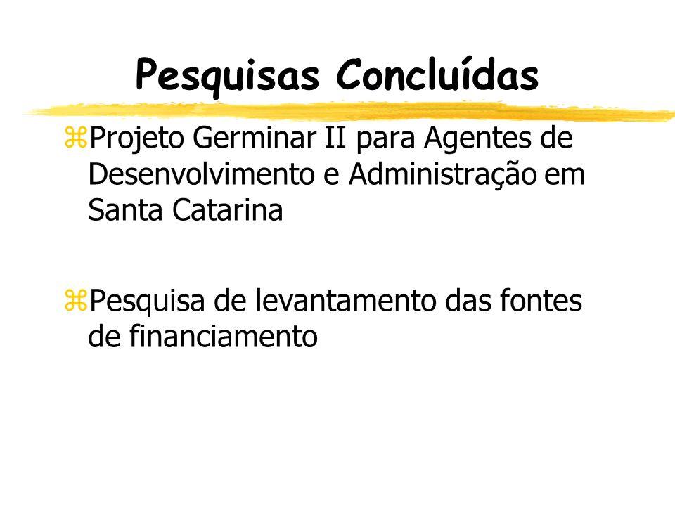 Pesquisas Concluídas Projeto Germinar II para Agentes de Desenvolvimento e Administração em Santa Catarina.