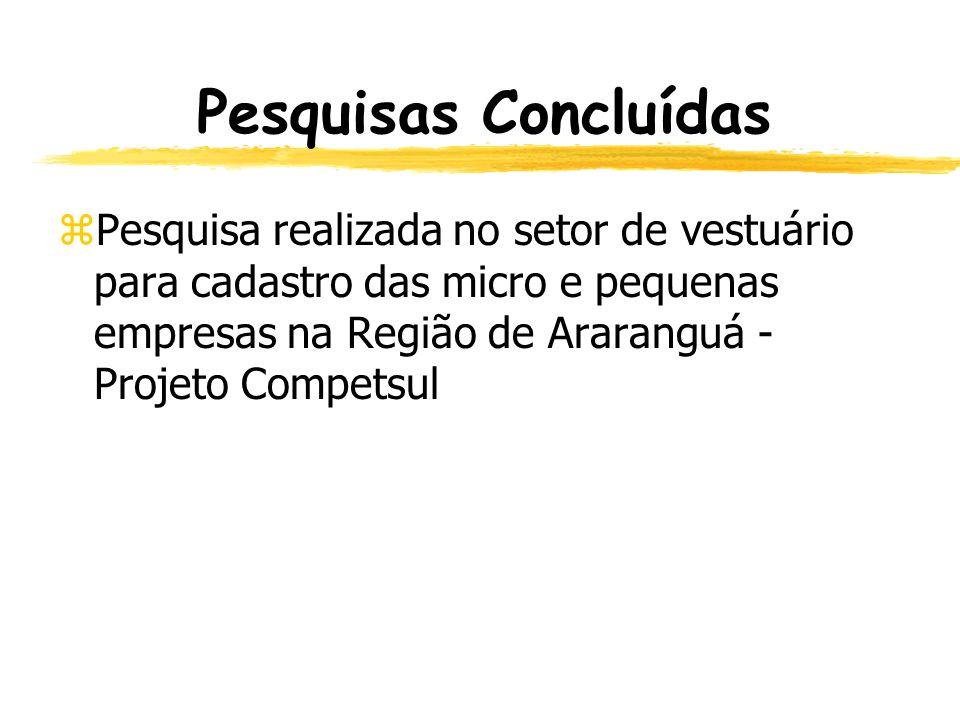 Pesquisas Concluídas Pesquisa realizada no setor de vestuário para cadastro das micro e pequenas empresas na Região de Araranguá - Projeto Competsul.