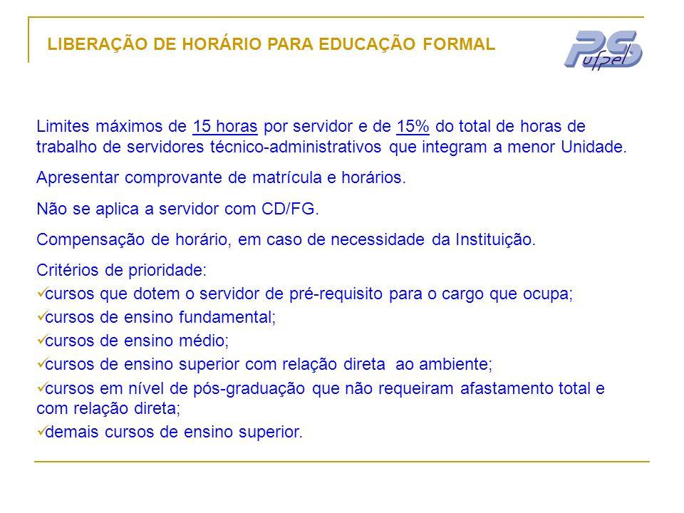 LIBERAÇÃO DE HORÁRIO PARA EDUCAÇÃO FORMAL