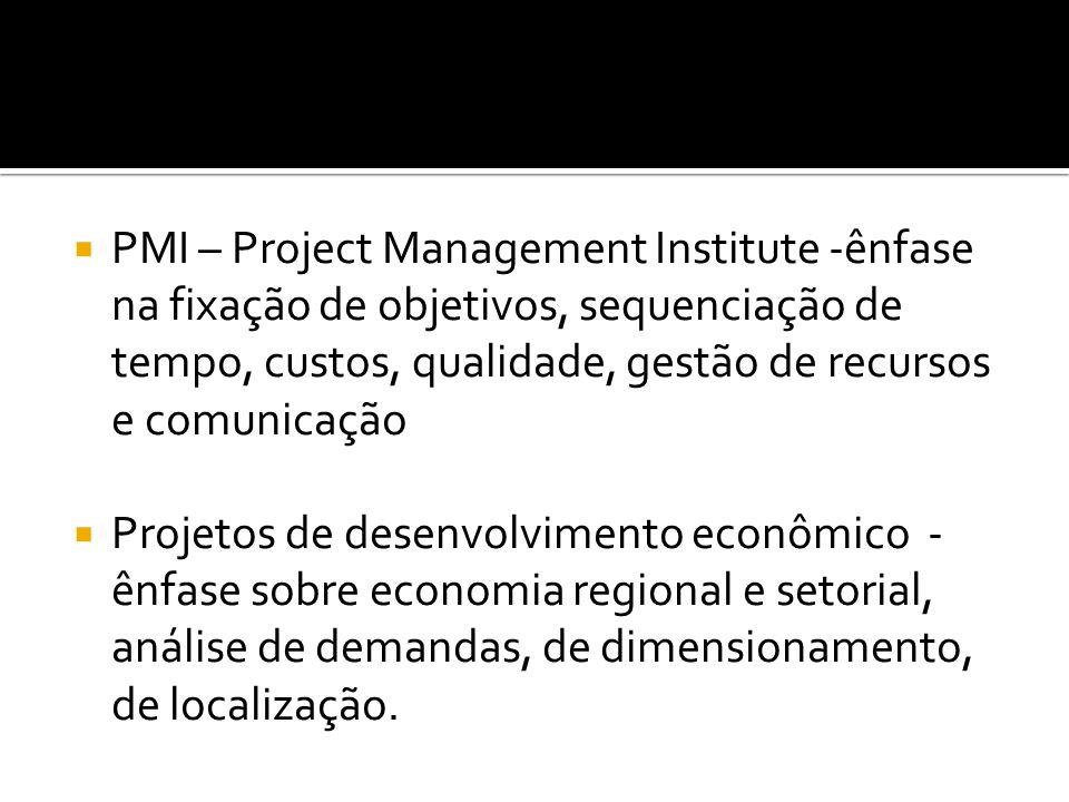 PMI – Project Management Institute -ênfase na fixação de objetivos, sequenciação de tempo, custos, qualidade, gestão de recursos e comunicação