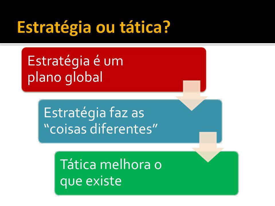 Estratégia ou tática 05/11/09 35 Estratégia é um plano global