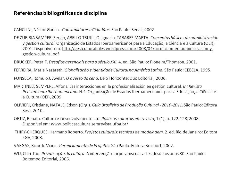 Referências bibliográficas da disciplina