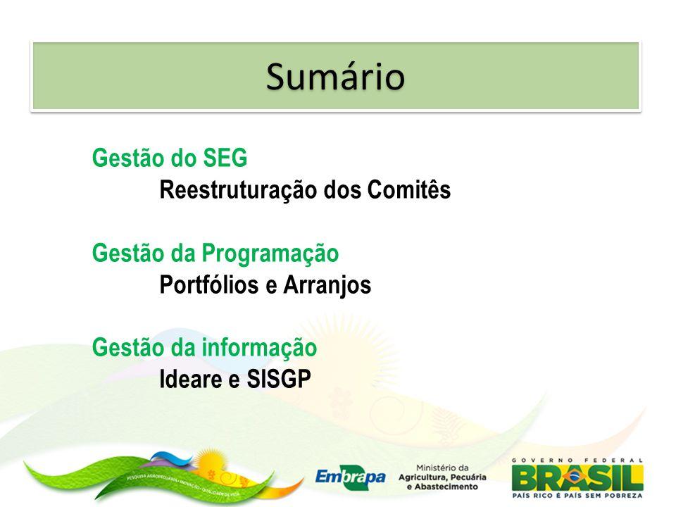 Sumário Gestão do SEG Reestruturação dos Comitês Gestão da Programação