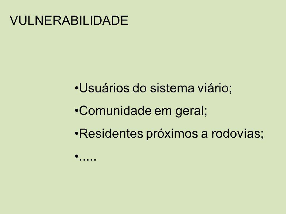 VULNERABILIDADE Usuários do sistema viário; Comunidade em geral; Residentes próximos a rodovias; .....