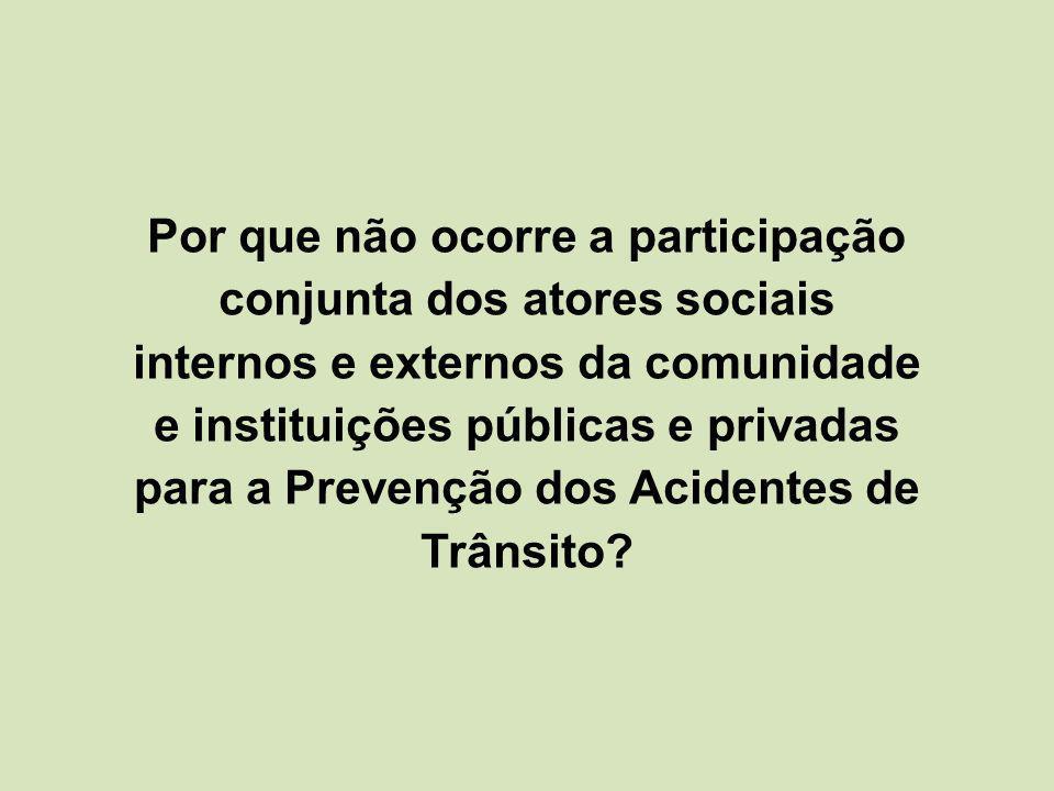Por que não ocorre a participação conjunta dos atores sociais internos e externos da comunidade e instituições públicas e privadas para a Prevenção dos Acidentes de Trânsito