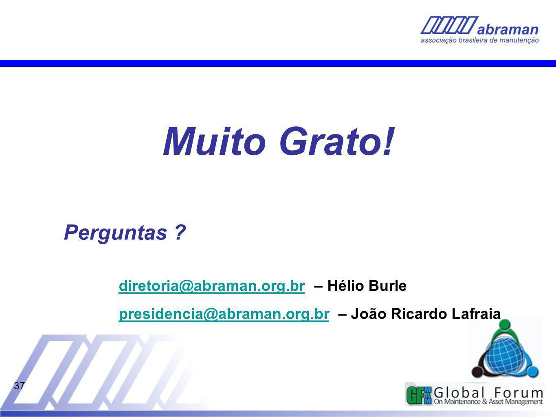 Muito Grato! Perguntas diretoria@abraman.org.br – Hélio Burle