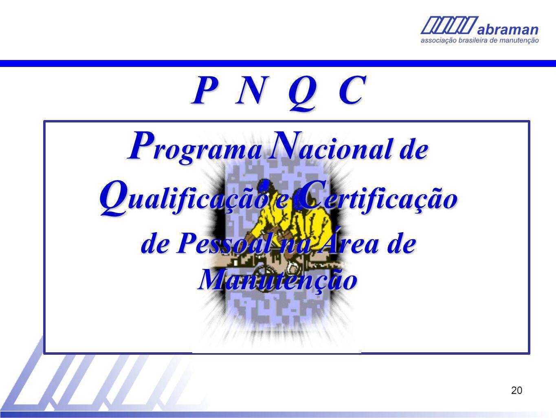 P N Q C Programa Nacional de Qualificação e Certificação