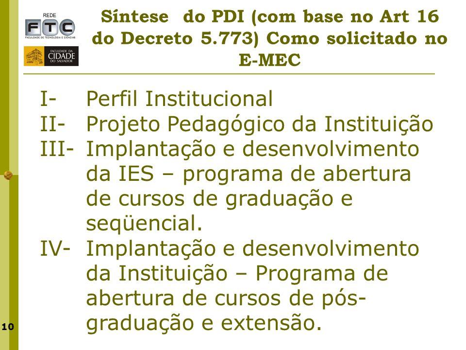 I- Perfil Institucional II- Projeto Pedagógico da Instituição