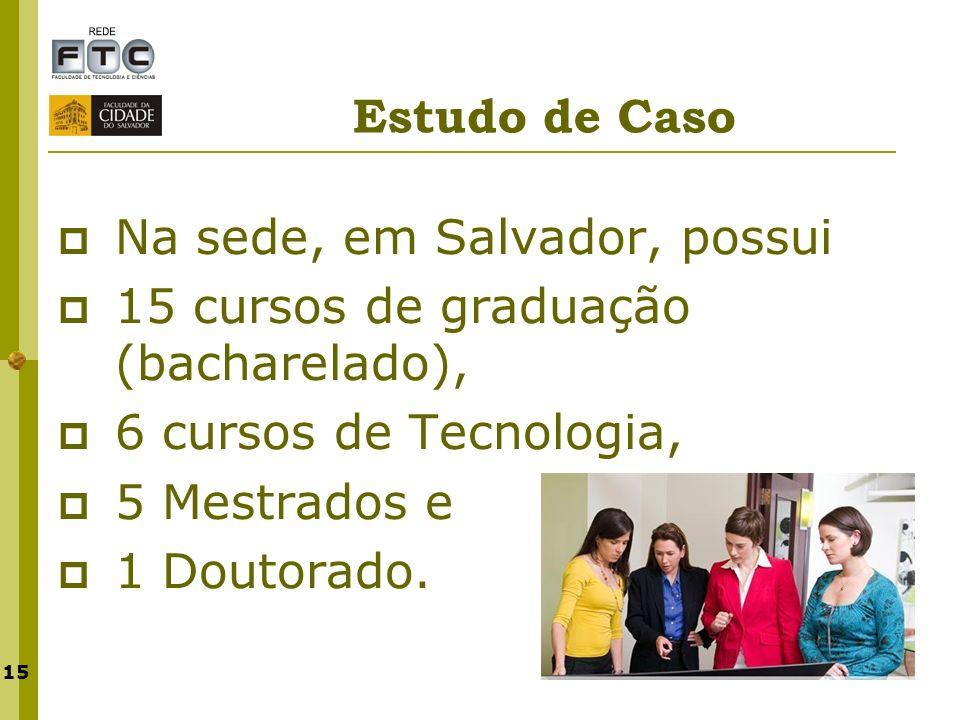 Estudo de Caso Na sede, em Salvador, possui. 15 cursos de graduação (bacharelado), 6 cursos de Tecnologia,